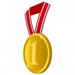 横から見た1の数字が入った金色・優勝メダルイラスト