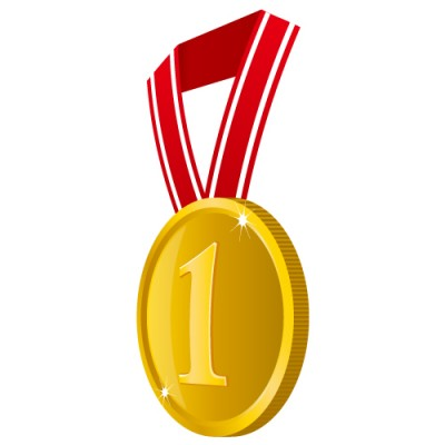 横の角度から見た1の数字が入った金色・優勝メダルイラスト