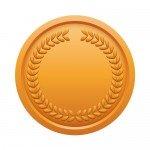 月桂冠が施された銅メダルイラスト