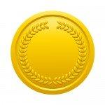 月桂冠が施された金メダルイラスト