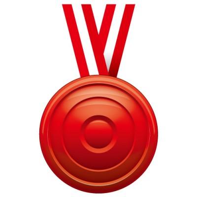 凹凸のある赤いメダルイラスト