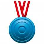 凹凸のある青いメダルイラスト