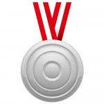 凹凸のあるシルバーメダルイラスト