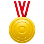 凹凸のあるゴールドメダルイラスト