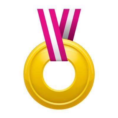 真ん中に穴の空いた金メダルイラスト