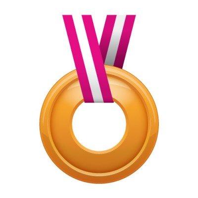 真ん中に穴の空いた銅メダルイラスト