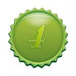 4の数字の入ったギザギザのグリーンカラーメダルイラスト