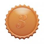 3の数字の入ったギザギザのブロンズカラーメダルイラスト