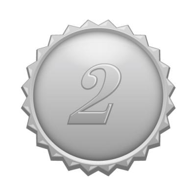 2の数字の入ったギザギザのシルバーカラーメダルイラスト