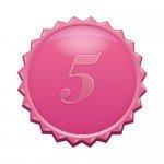 5の数字の入ったギザギザのピンクカラーメダルイラスト