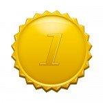 1の数字の入ったギザギザのゴールドカラーメダルイラスト