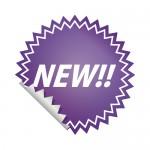 紫色のNEW!ステッカーイラスト