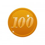 100の数字が入ったブロンズコインのイラスト