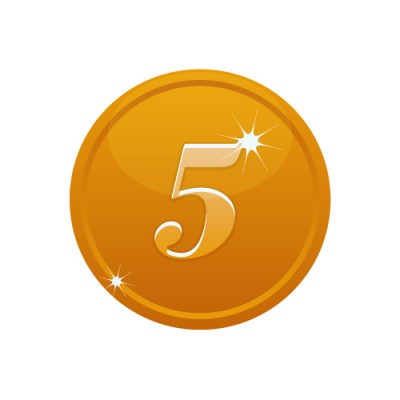 5の数字が入ったブロンズコインのイラスト