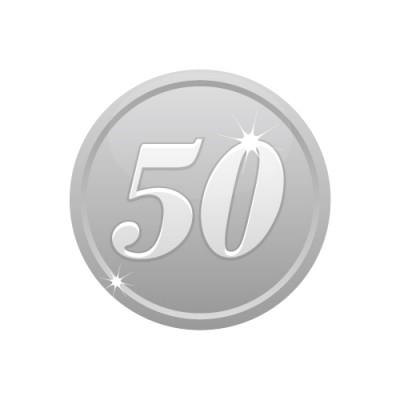 50の数字が入ったシルバーコインのイラスト