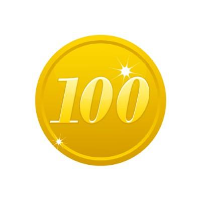 100の数字が入ったゴールドコインのイラスト