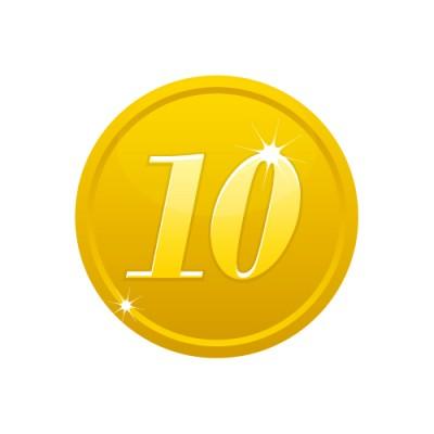 10の数字が入ったゴールドコインのイラスト