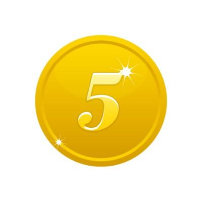 5の数字が入ったゴールドコインのイラスト