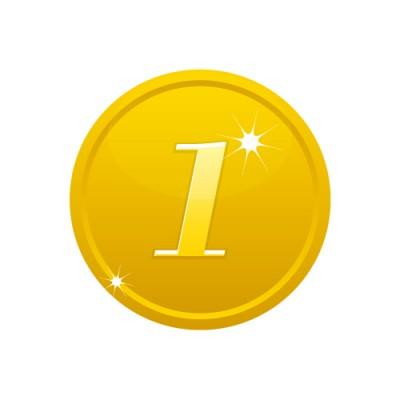 1の数字が入ったゴールドコインのイラスト
