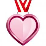 ピンク色のハート型メダル風イラスト