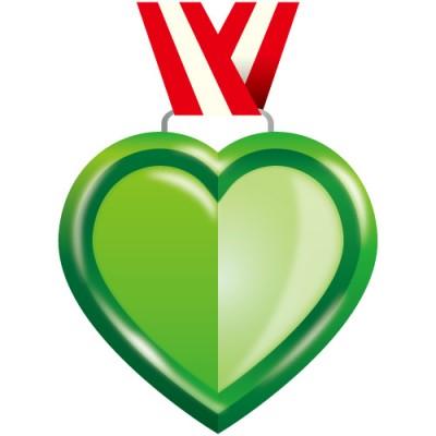 グリーンカラーのハート型メダル風イラスト