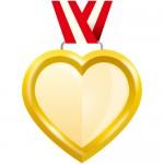 ゴールドカラーのハート型メダル風イラスト