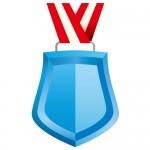 青色のシールド形メダルイラスト