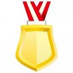 ゴールドカラーのシールド形メダルイラスト