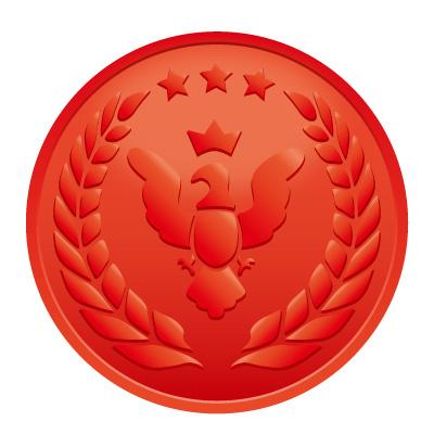 鳥と月桂樹の赤いメダルイラスト