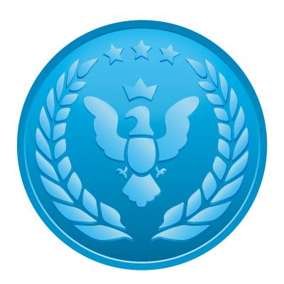 鳥と月桂樹の青いメダルイラスト