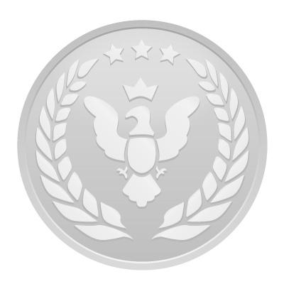 鳥と月桂樹のシルバーメダルイラスト