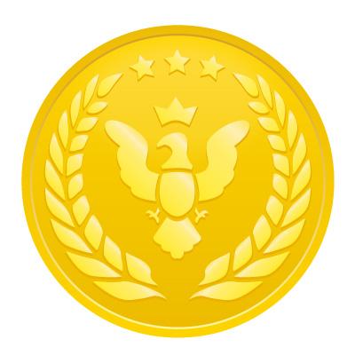 鳥と月桂樹のゴールドメダルイラスト