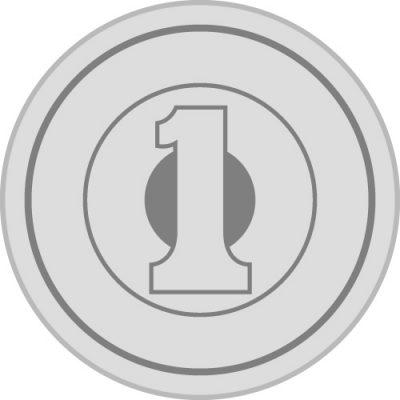 日本の一円玉硬貨(正面)の簡易イラスト