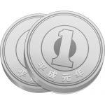 2枚重ねた一円玉硬貨のイラスト