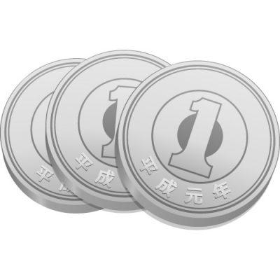 3枚重ねた一円玉硬貨のイラスト