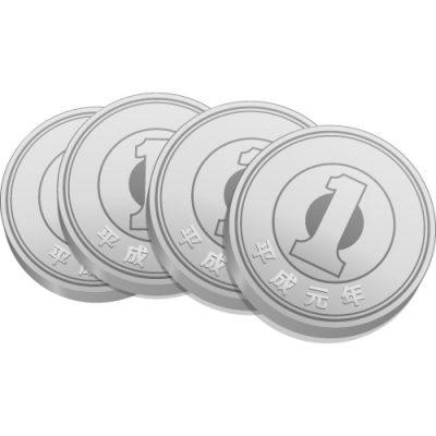 4枚重ねた一円玉硬貨のイラスト