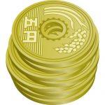 五円玉硬貨が積み重なったイラスト
