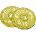 2枚重なる五円玉硬貨のイラスト