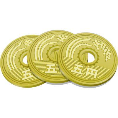 3枚重なる五円玉硬貨のイラスト