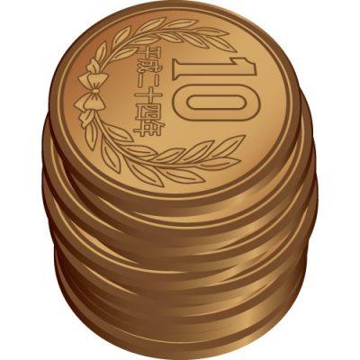 積み重なった十円玉硬貨のイラスト