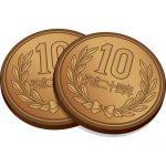 2枚重なった十円玉硬貨のイラスト