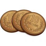 3枚重なった十円玉硬貨のイラスト