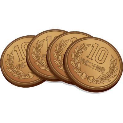 4枚重なった十円玉硬貨のイラスト