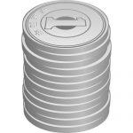 高く積み重なる一円玉硬貨(横向き)のイラスト