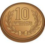 縁に溝のある十円玉硬貨(ギザ十)のイラスト