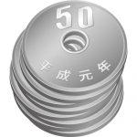 五十円玉硬貨が重なったイラスト
