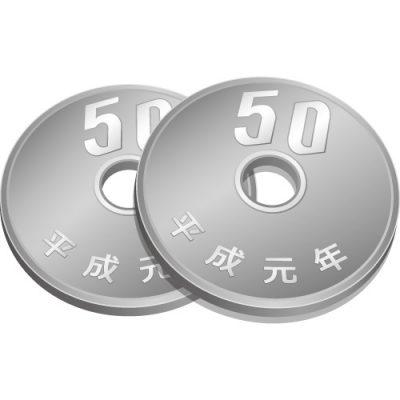 2枚重なった五十円玉硬貨のイラスト