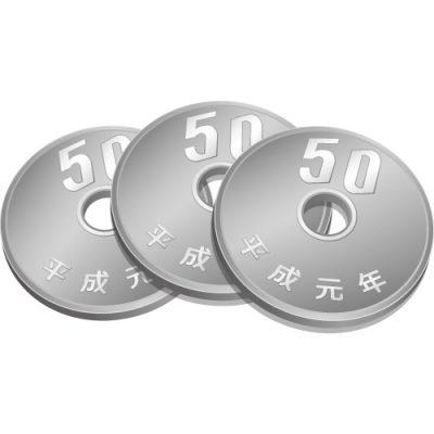 3枚重なった五十円玉硬貨のイラスト