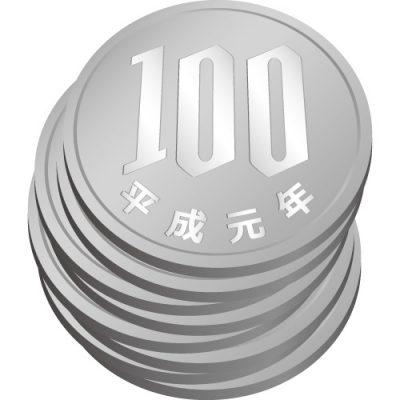 百円玉硬貨が重なったイラスト