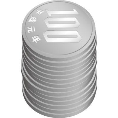 百円玉硬貨が積み重なったイラスト